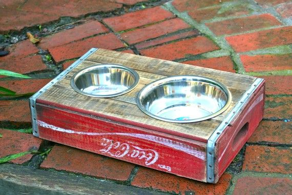 Cool doggy bowl #pets #dog - could do this with a plain wooden tray and put it on legs for Duke