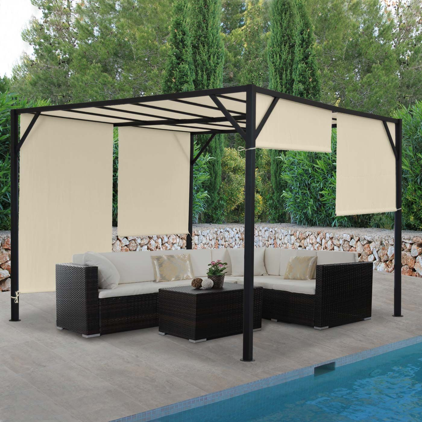 pergola baia garten pavillon terrassen berdachung stabiles 6cm stahl gestell schiebedach. Black Bedroom Furniture Sets. Home Design Ideas