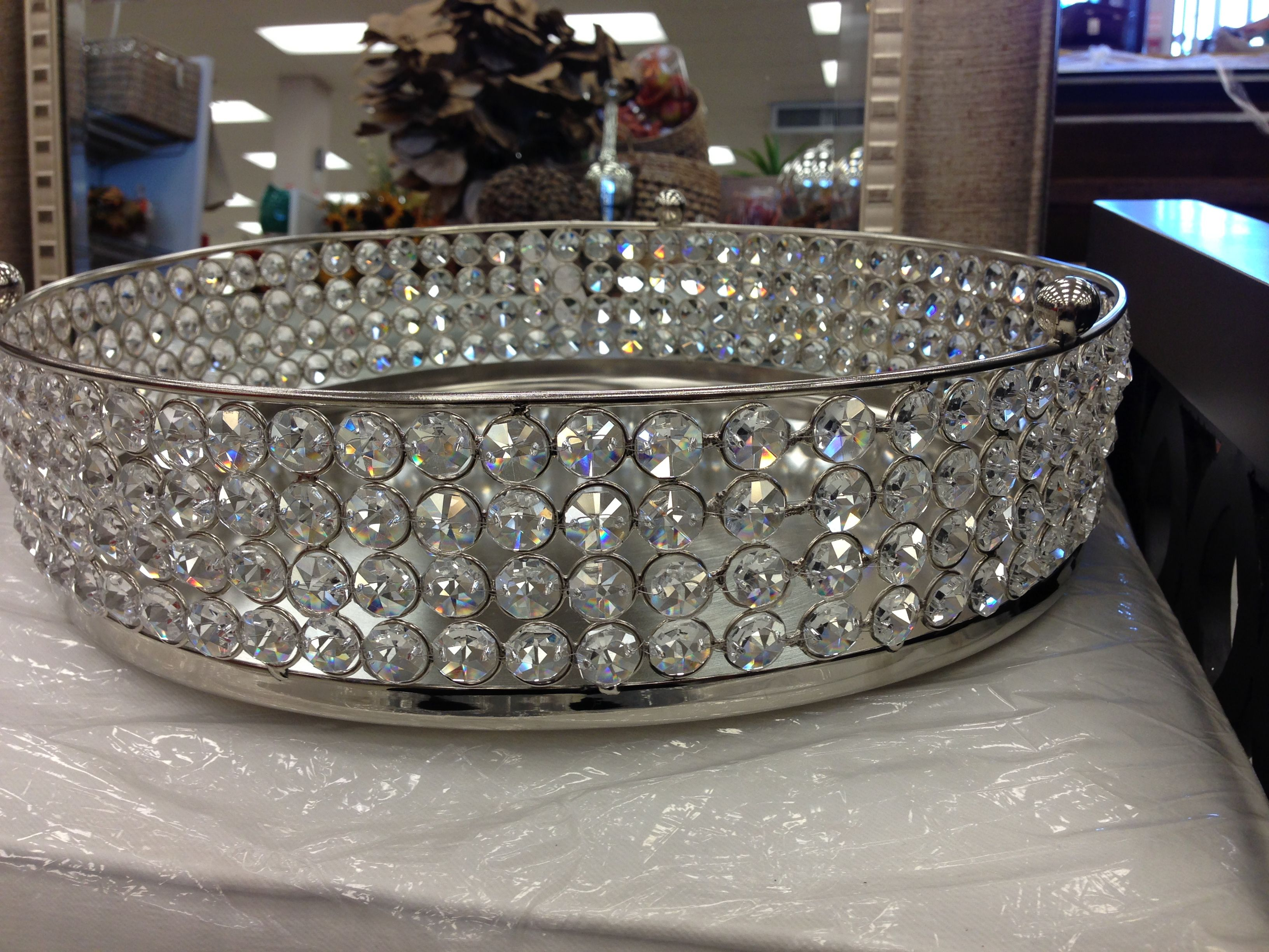crystal clear with dia sparkle elegance silver lead mirror round crystals tray vanity pin beaded