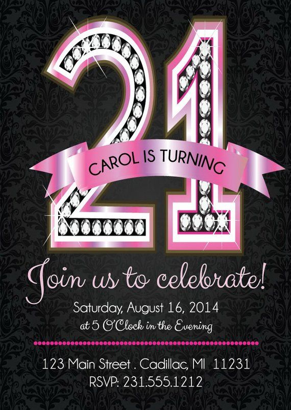 21st Birthday Invitation Pink Diamond Birthday