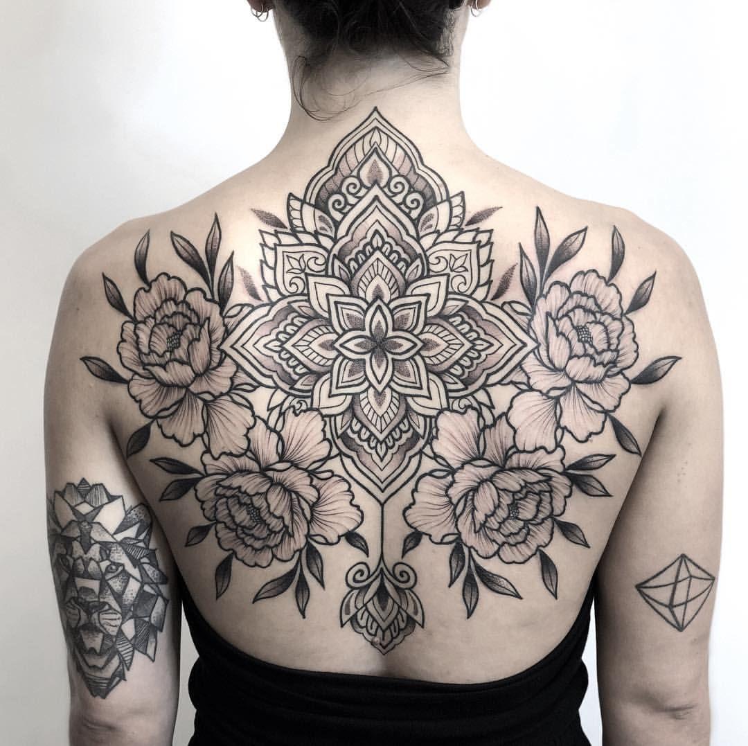 Chronic Ink Tattoo Downtown Toronto Blackwork Tattoo Sebastian Mandala And Peonies Tattoos Blackwork Tattoo Ink Tattoo