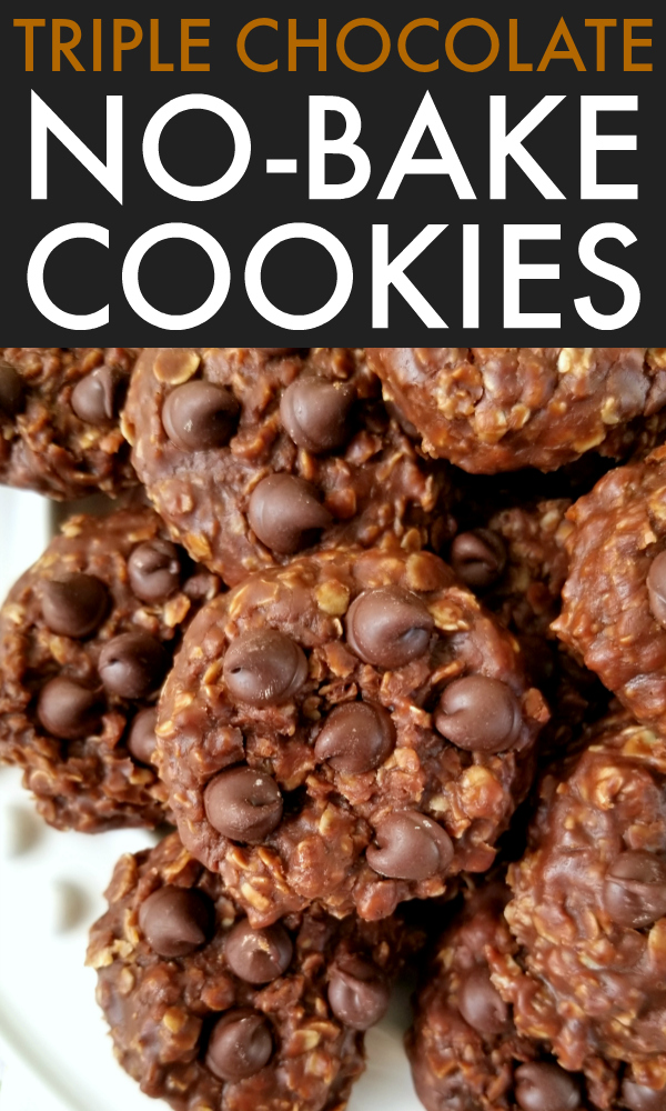Classic nobake peanut butter oatmeal cookies made with DOUBLE the cocoa and studded with chocolate chips for three times the chocolate goodness