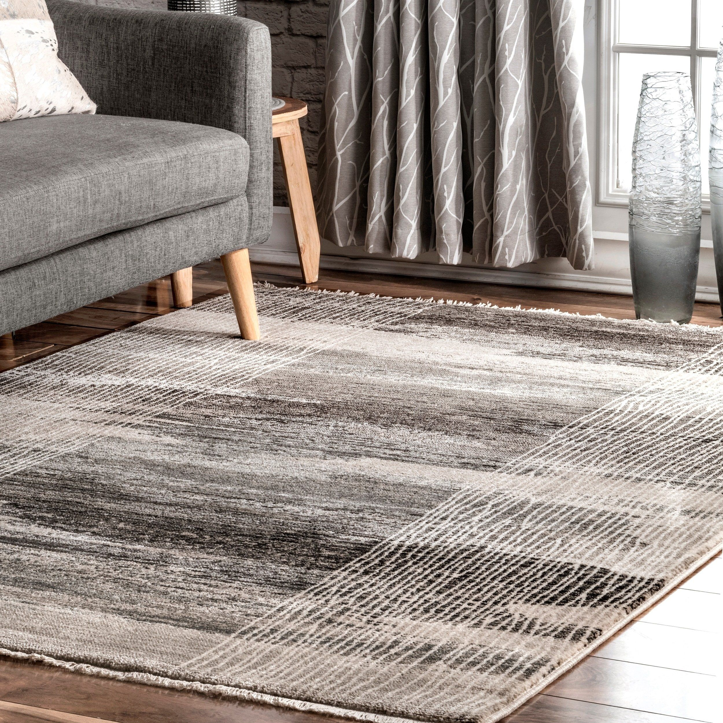 Strick Bolton Flora Modern Lined Area Rug 6 7 X 9 4 Gray