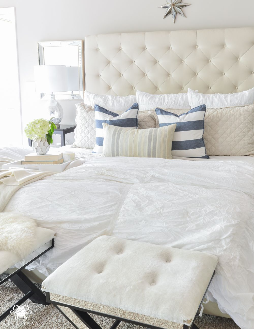 pottery barn lorraine bed on shades of summer home tour with neutrals and naturals kelley nan bedding inspiration guest bedroom decor summer house pinterest