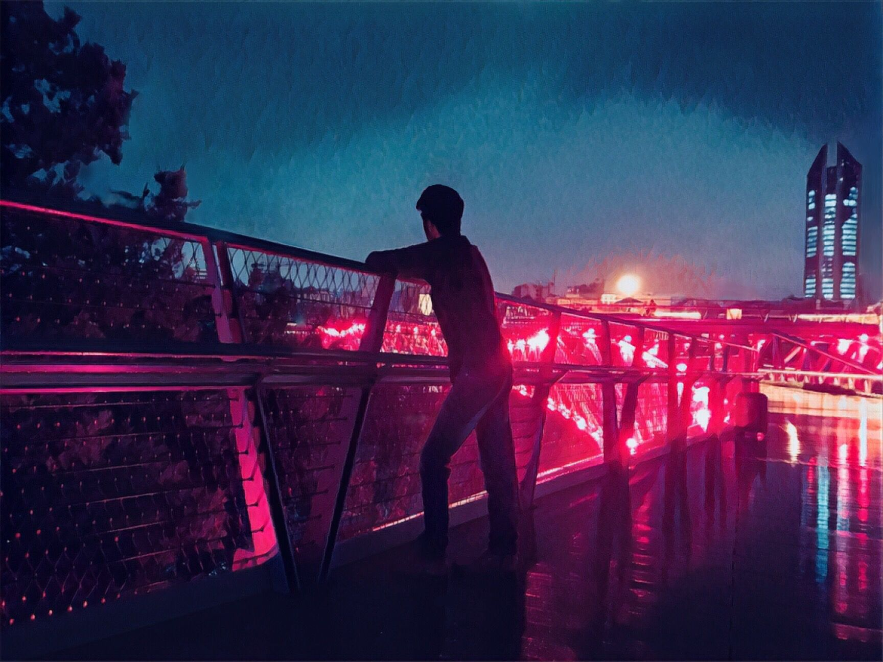 Alone Boy In Night Bridge Light Photography Photoshop Alone Boy Photography Background Images For Editing Boy Photography