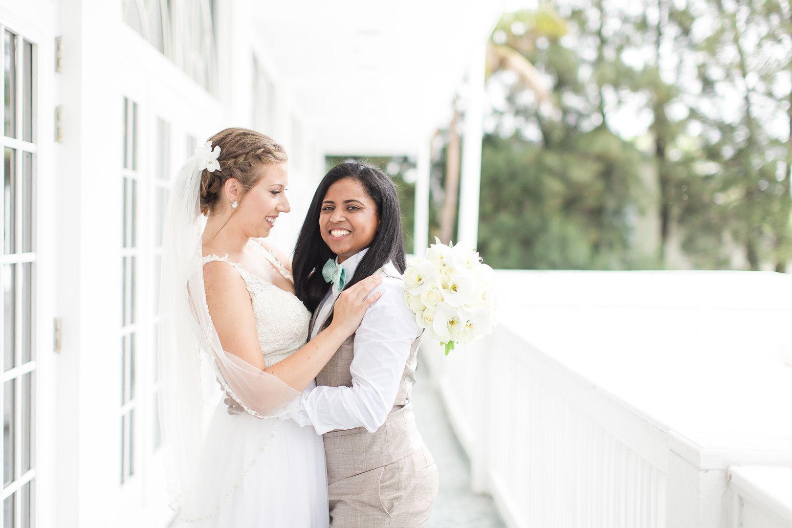Tropical Blue And Green Beach Wedding In St Petersburg Florida Lesbian Wedding Lgbtq Wedding Wedding Film