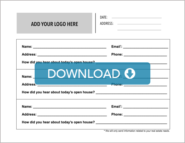 A Full Real Estate Open House Sign-In Sheet. Download and ...