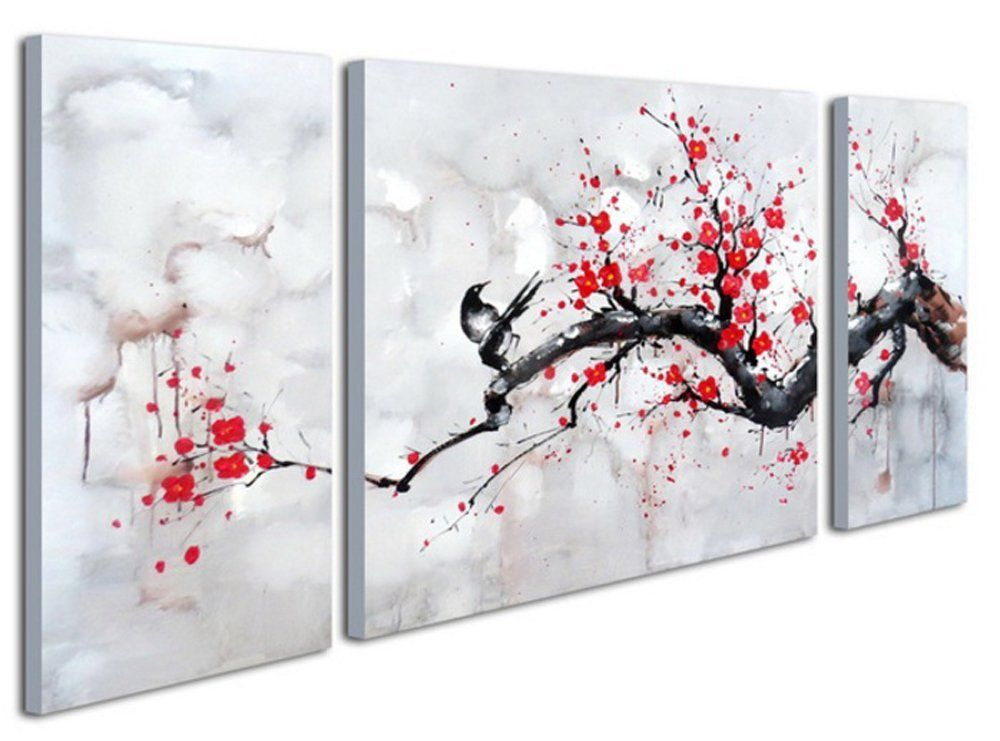 Black White Red Modern Abstract Cherry Blossom Wall Art Picture 3pcs Oil Paintings On Canvas Handm Cherry Blossom Wall Art Cherry Blossom Painting Red Wall Art