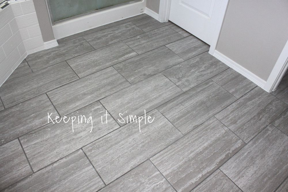 How To Tile A Bathroom Floor With 12x24 Gray Tiles Small Bathroom Tiles Bathroom Flooring Stylish Bathroom