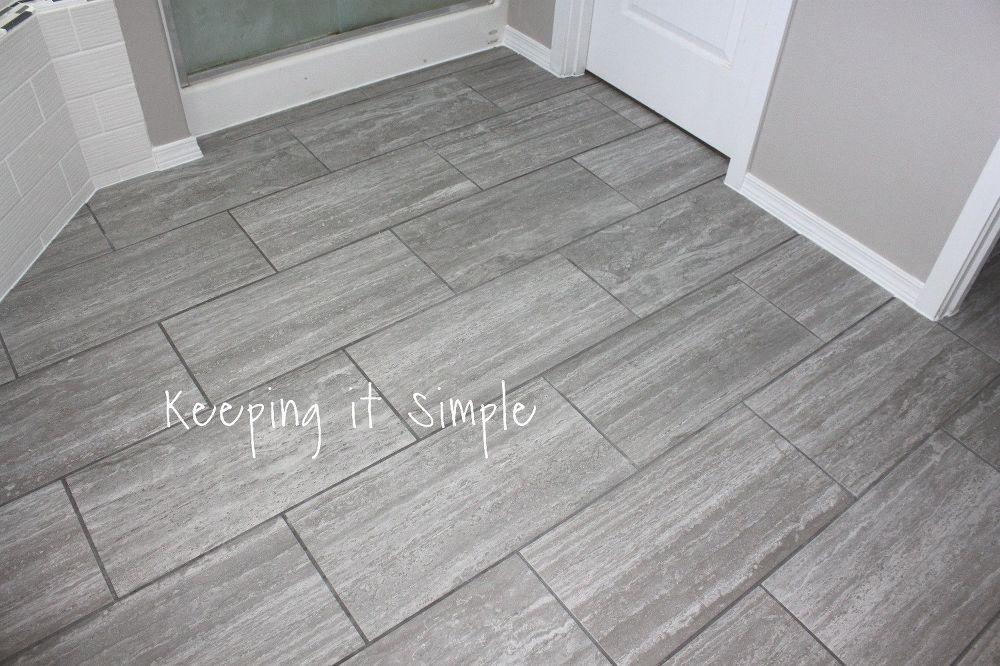 How To Tile A Bathroom Floor With 12x24 Gray Tiles Small Bathroom Tiles Bathroom Flooring Stylish Bathroom