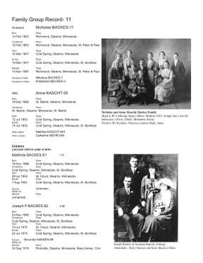backes family history book sample page genealogy pinterest