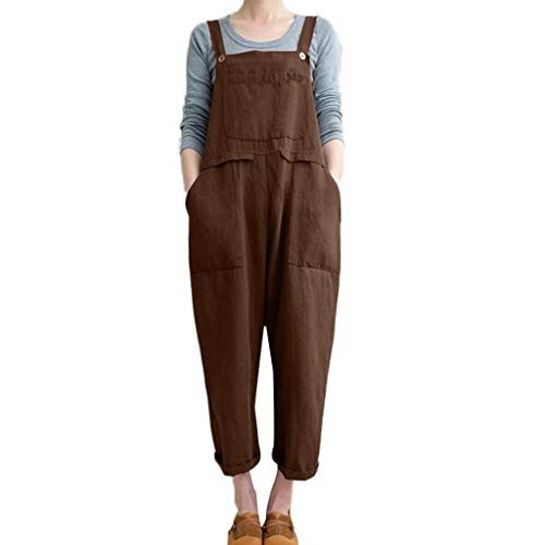 60280d56d4f Drindf Women s Loose Linen Wide Leg Jumpsuit Rompers Bib Long Suspender Overalls  Harem Pants Plus Size