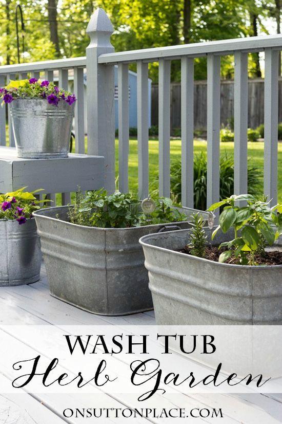 Attractive Patios · Vintage Galvanized Wash Tub Herb Garden | Container ...