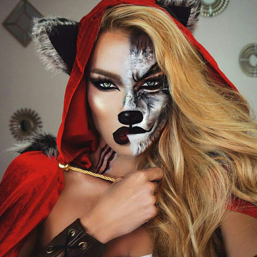 Ladies Red Riding Hood Wolf Split Face Halloween Makeup Idea
