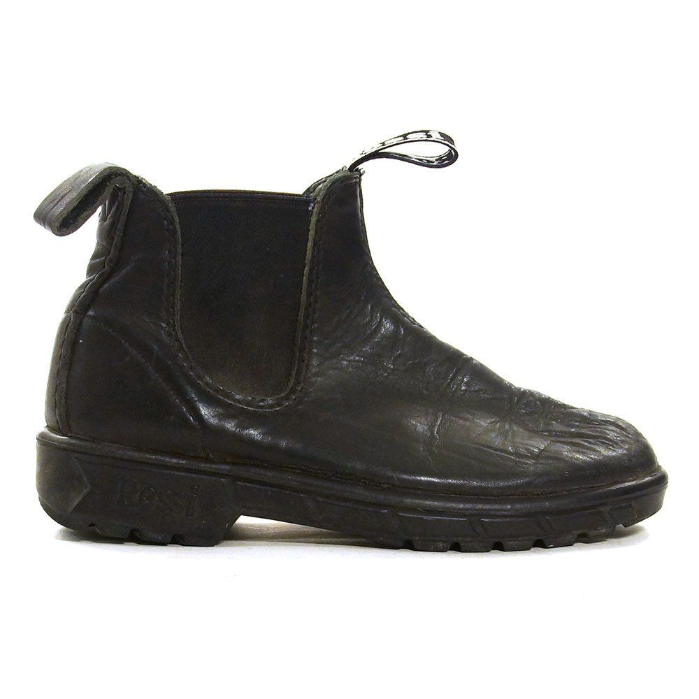 07007ebd479 Rossi Ankle Boots Vintage 90s Black Leather Work Boots Low Flexible Rubber  Heels Rugged Tread Chelsea Boots Elastic Sides Women s Size 8 by  SpunkVintage on ...