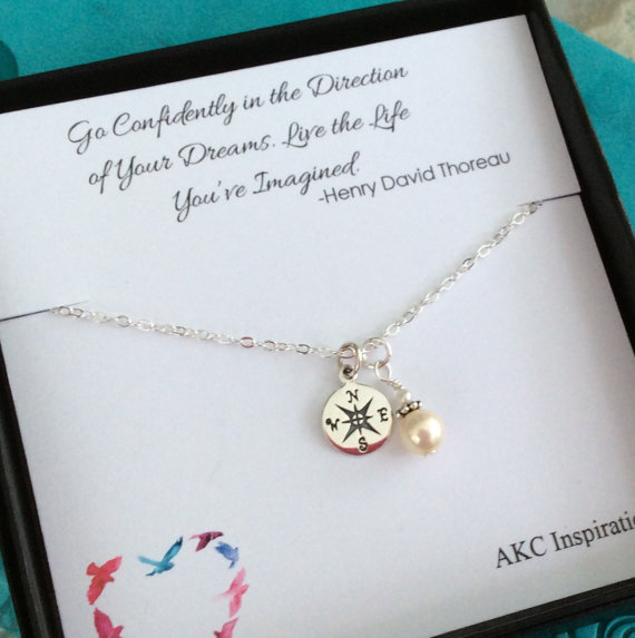Go Confidently in the Direction of Your Dreams Compass Necklace Sterling Silver 18 Graduate Gift Graduation Gift Necklace