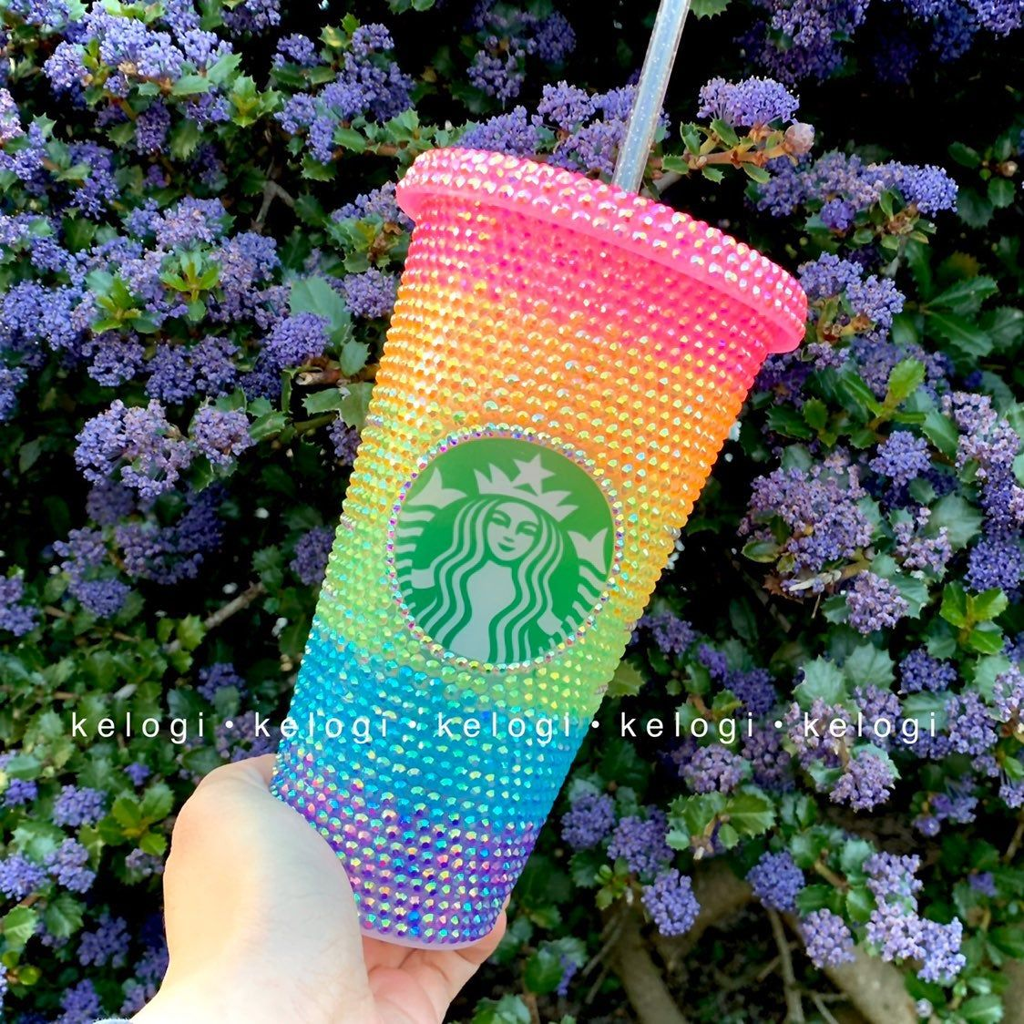 New starbucks rainbow ombre bling cup mercari in 2020