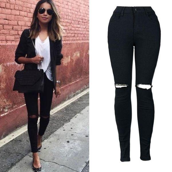 Photo of Pantaloni attraenti da donna slim a matita Pantaloni jeans skinny lunghi strappati al ginocchio | Desiderio