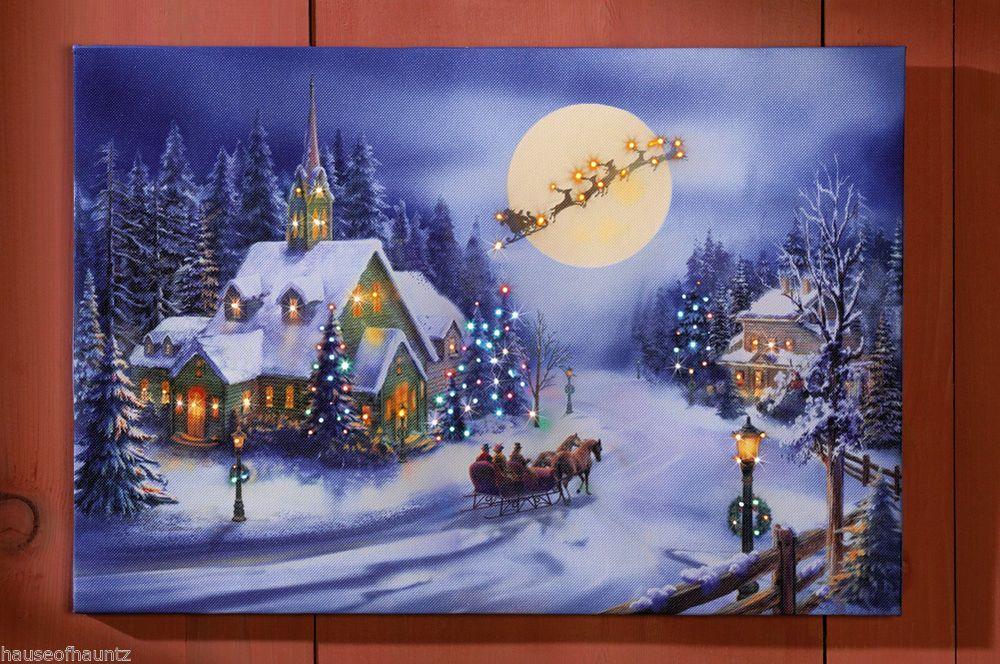 Holiday Village Lighted Wall Canvas Decor Christmas Church Santa Sleigh Tree Lit Christmas Canvas Winter Wall Decor Holiday Village
