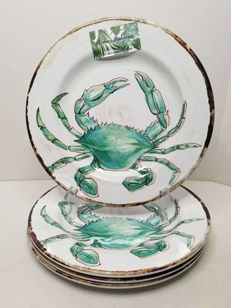 "Tommy Bahama Blue Crab Melamine Dinner Plate 11/"" ~ NEW"