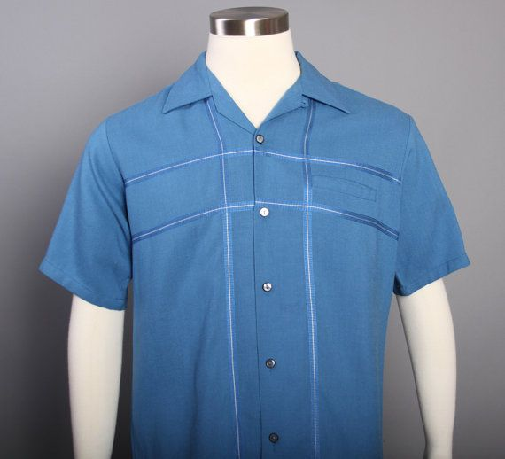 Vintage 50s Blue Loop Collar Button Down MGZrsjm6