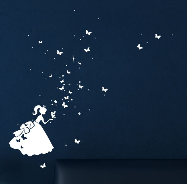 Leuchtsticker Wandtattoo fluoreszierend Cinderella von deinewandkunst auf DaWanda.com
