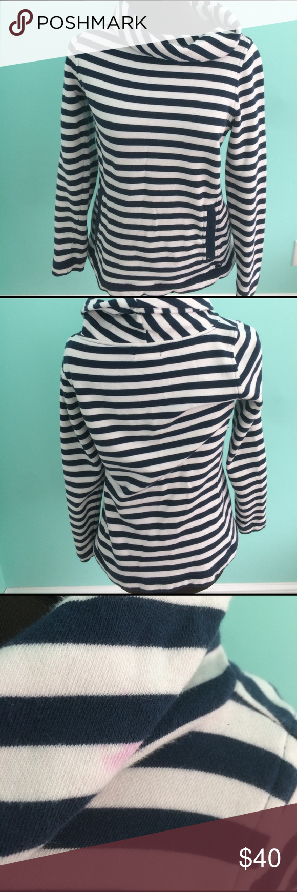 Vineyard Vines striped cowl neck sweater- xxs Navy and white striped cowl neck sweater. Super comfy for lounging around. Small pink mark on cowl neck (shown in picture) .. easy to fold cowl neck over and not to be seen Vineyard Vines Tops Sweatshirts & Hoodies