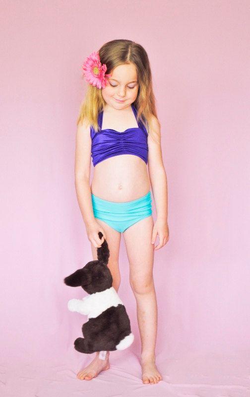 Little Mermaid Inspired Girls Retro Swimsuit Bikini Two