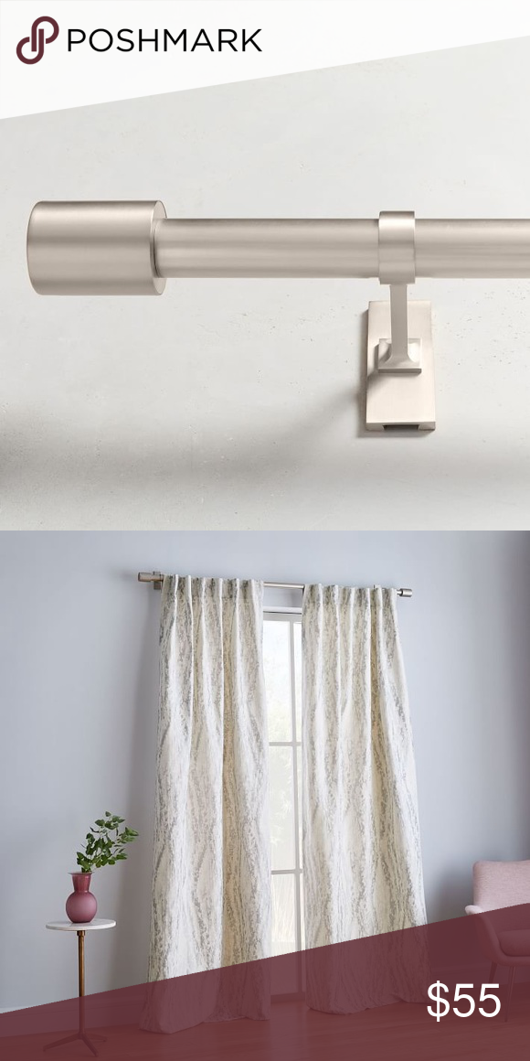 Curtain Rod Brushed Nickel Adjustable 44 To 108 Brushed Nickel From West Elm Oversized Metal Rod Includes Mounting H Curtain Rods Curtains Plates On Wall
