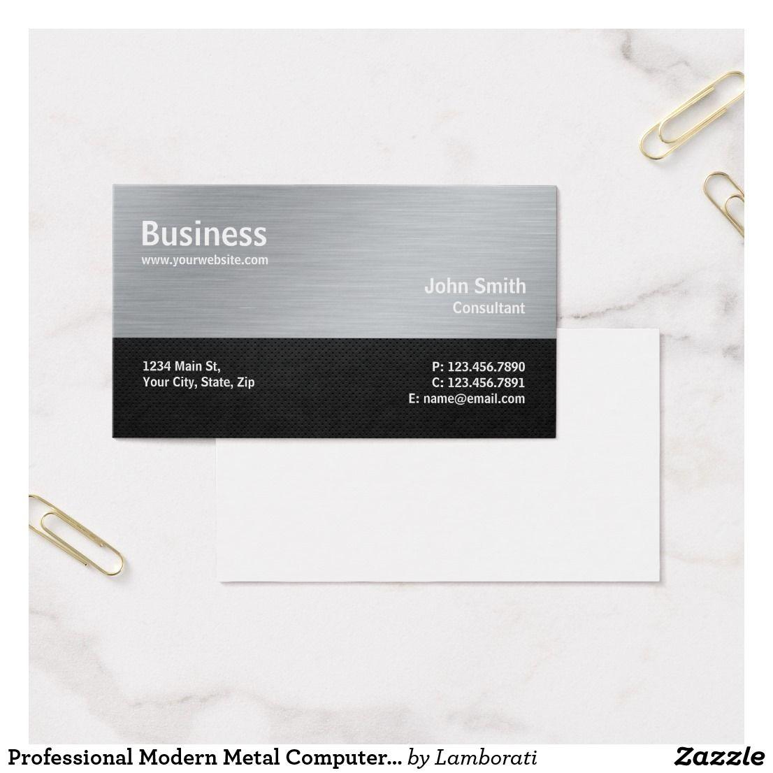 Professional Modern Metal Computer Repair Silver Business Card ...