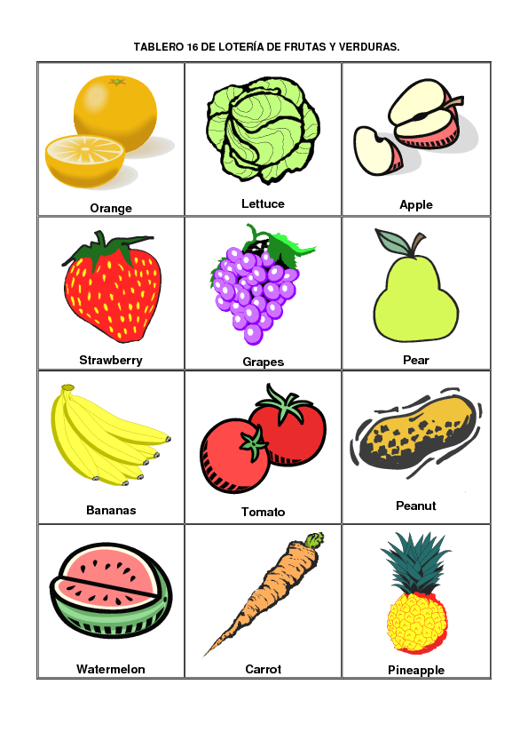 Apoyo Escolar Ing Maschwitzt Contacto Telef 011 15 37910372 Lotería Frutas Y Verduras En Español E I Verduras Para Niños Frutas Y Verduras Verduras En Ingles