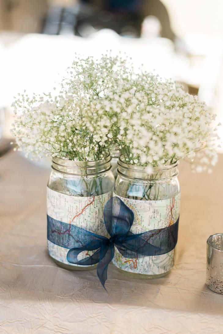 Map Baby S Breath Centerpieces With Navy Ribbon Photo Shelley Marie Travel Themed