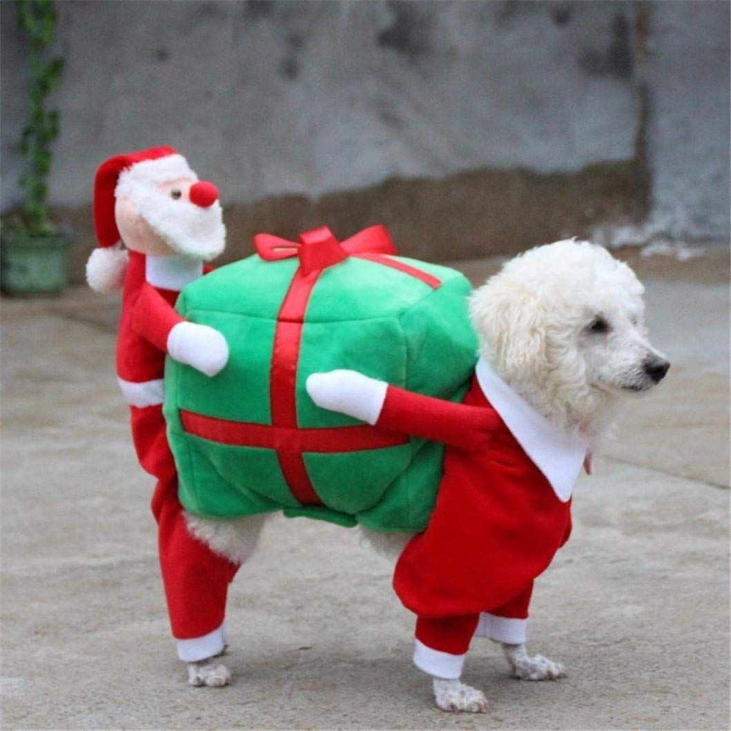 Dog Christmas Costume Pet Christmas Clothes Santa Costume Carrying