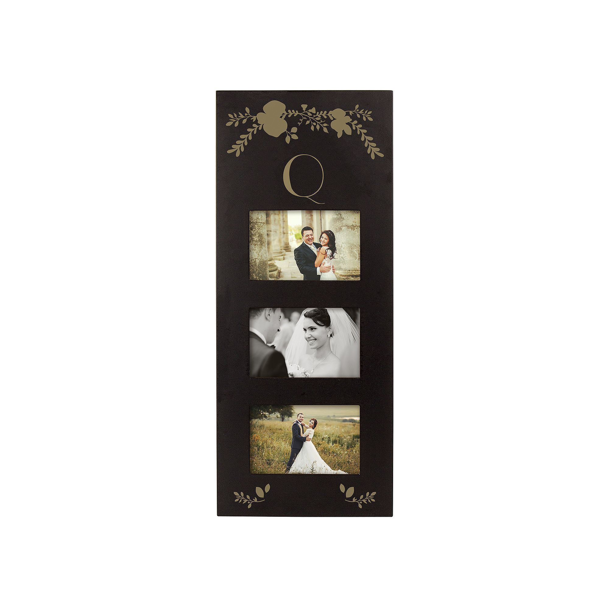 """Cathy s Concepts Monogram 3 Opening 5 5"""" x 3 5"""" Collage Frame Black"""