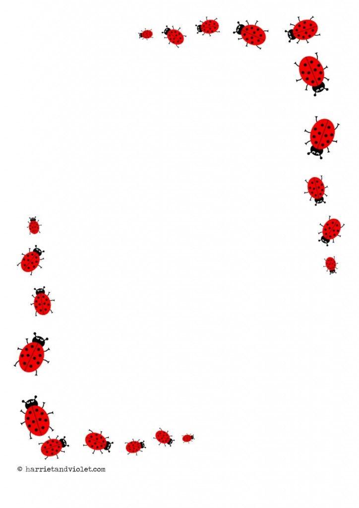 Ladybird Border Paper A4 Portrait, plain, lined & half lined - Free ...