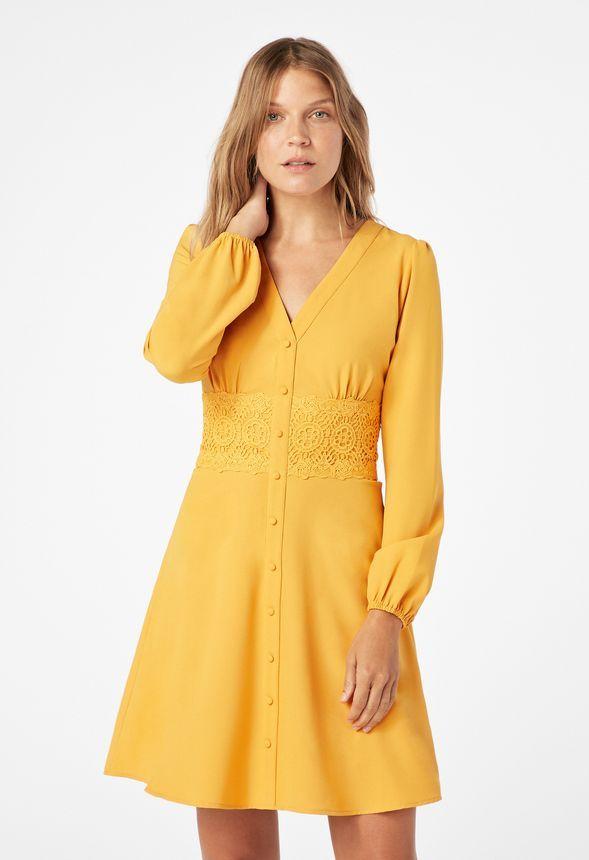 119961d8e9d Button Front Shirt Dress in Marigold - Get great deals at JustFab ...