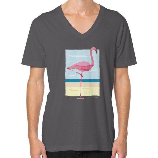 Scenic flamingo painted summer art V-Neck (on man)