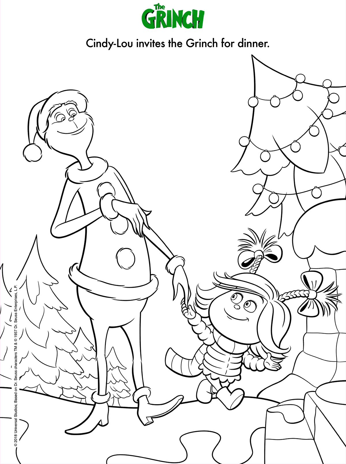 Dr Seuss The Grinch Film Coloring Page (With images