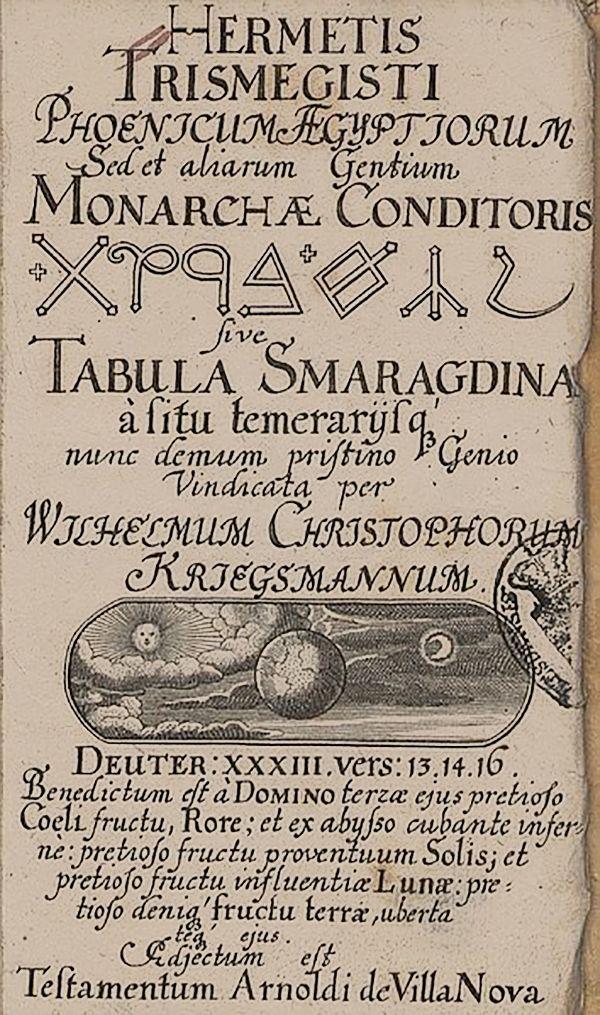 """""""Título de Cobre"""" - Teosofia e Alquimia, de Hermes Trismegistus, 1657"""