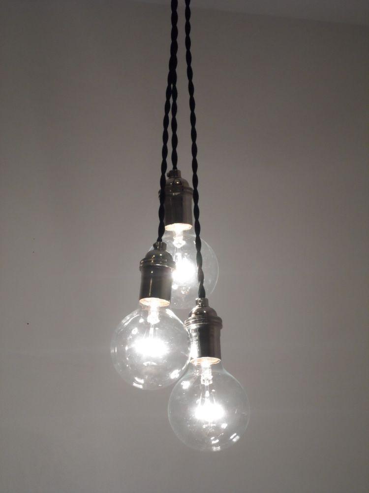3 Bulb Cer Pendant Light Modern Chandelier Edison Lamp Rustic Mason Jar Country Shabby Chic