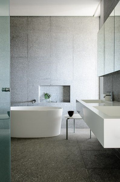 Practical Master Bathroom Ideas: Adorable Modern Bathroom. The His And Her Vanity Is Cut So