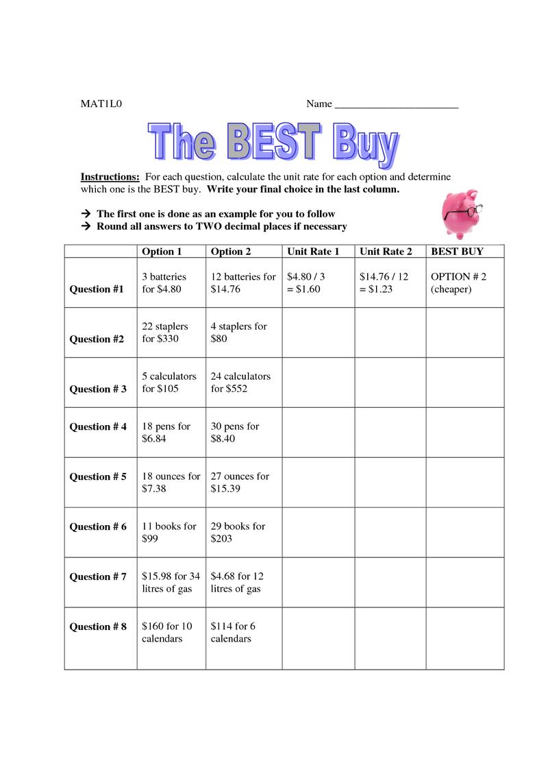 hight resolution of Page 1 - Best Buy Worksheet.pdf   Math worksheet