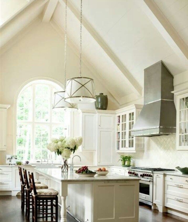 50 vaulted ceiling image ideas make room spacious with images new kitchen cabinets cream on kitchen cabinets vaulted ceiling id=22782