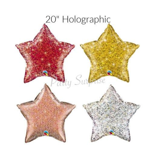 "Star Balloons  20"" Gold Silver Red, Rose Gold Mylar Foil Twinkle Christmas Hanukkah Birthday New Years Theater Hollywood Jumbo Star Balloons"