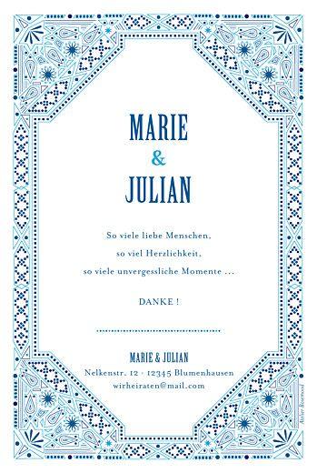 Dankeskarten Hochzeit Mediterran blau | Farben/Motto Hochzeit ...