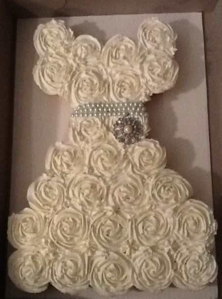 Cupcakes shaped into a wedding gown for a Bridal Shower -- We should ...