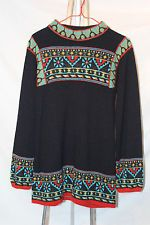 VTG 1970s Boho Hippie Mod Tunic Sweater Aztec Black Turquoise Red Yellow Brown
