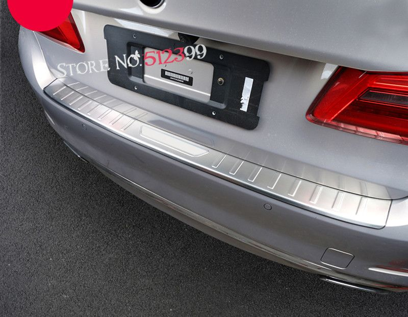 For Bmw 5 Series G30 2017 2018 Stainless Steel Rear Bumper Protector Sill Rear Tail Trunk Trim 1pcs Rear Bumper Protector Interior Accessories Bumper Protector