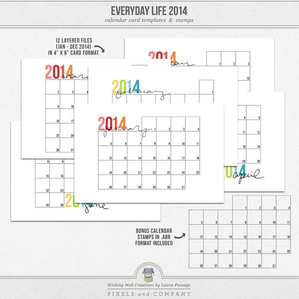 "FREE Layered 4""x6"" Calendar Card Templates By ""Wishing"
