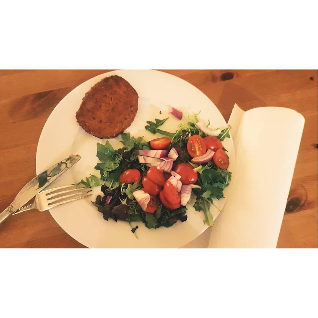 Veggie steak and a #mediterranean salad for dinner  #plantbased #vegan  #veganrecipes  #veganism #ve...
